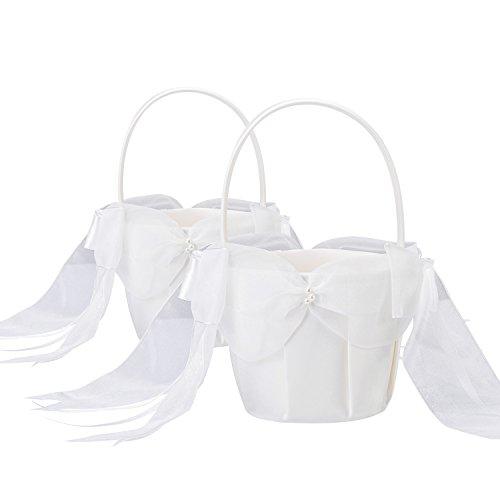 2 Stück Elfenbein Satin bowknot Hochzeit Blumenmädchen Korb Blumenkinderkörbchen