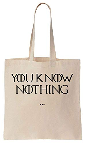 Finest Prints You Know Nothing Minimal Quote Cotton Canvas Tote Bag