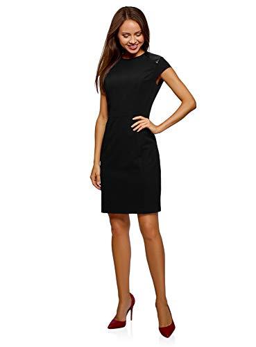 oodji Collection Damen Tailliertes Kleid mit Kunstleder-Einsätzen, Schwarz, DE 36 / EU 38 / S