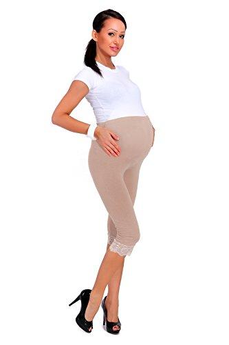 futuro fashion Schwangerschaft abgeschnitten 3/4 Länge Baumwollleggings mit Spitze alle Farben & alle Größen - Beige, 42