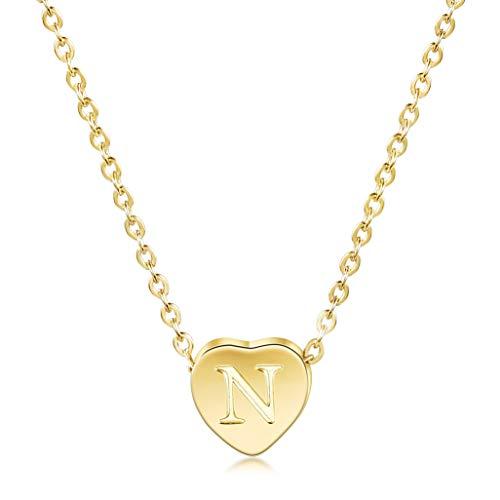 WISTIC Damen Kette mit Herz Anhänger Buchstabe A-Z Alphabet Initiale Kette Halskette | 14 K Gold Überzogen Minimalist Kette mit Herz Charme Edelstahl Geschenk für Frauen Mädchen (Charme-kette)