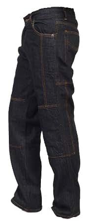 Juicy Trendz Herren Motorradrüstung Biker Motorrad Denim Hose Jeans Black W32 L30