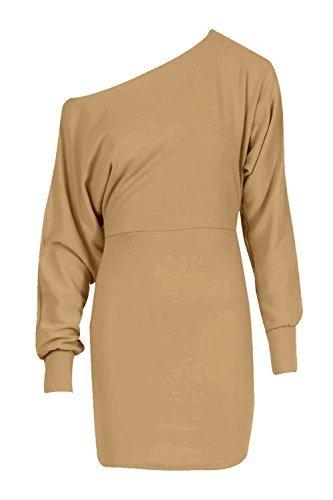 RE TECH UK Donna donna maniche lunghe Spalla Scoperta con risvolto Ponte a pipistrello mini abito maglione CELEBRITÀ Cammello