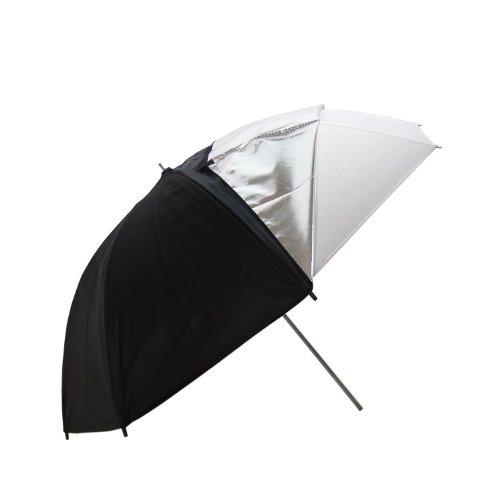Dynasun ur05 ombrello a doppia superficie professionale da studio, 109 cm xxl, nero/ bianco/argento