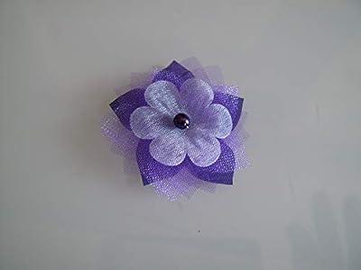 Barrette fleur tissu enfant fille pince cheveux Violet Prune Blanc (courts détachés) Perle Fleur Mariée Mariage Soirée Cérémonie Coktail Danse classique pas cher