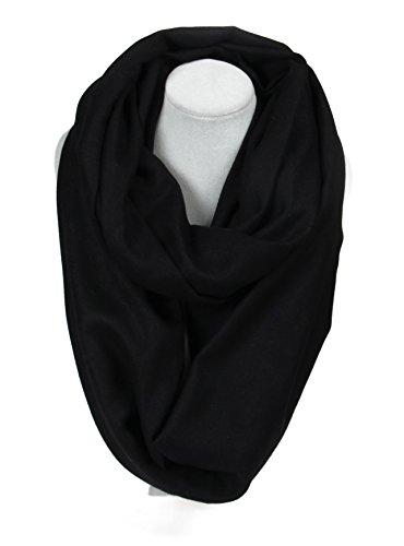 Massi Morino Schlauchschal aus Kaschmir, Unisex Loop-Schal für Damen und Herren (Schwarz)