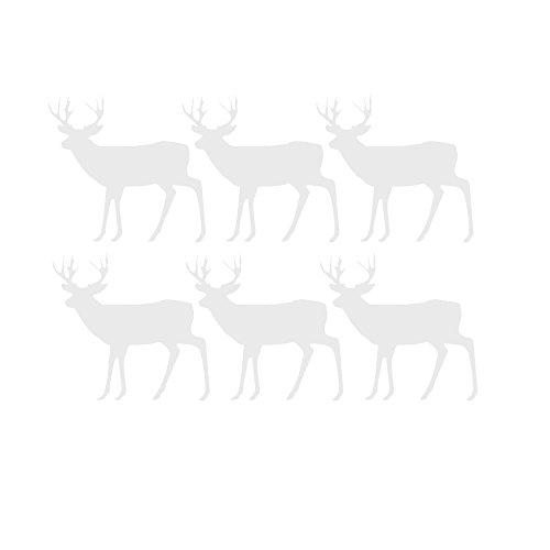 ufkleber,6 StüCke 10cm*9.5cm*6cm Frohe Weihnachten Elch Schneeflocke Dekoration Aufkleber Fenster Wohnkultur Wandtattoo Geschenke Wandaufkleber Weihnachtsdeko (Weiß) ()