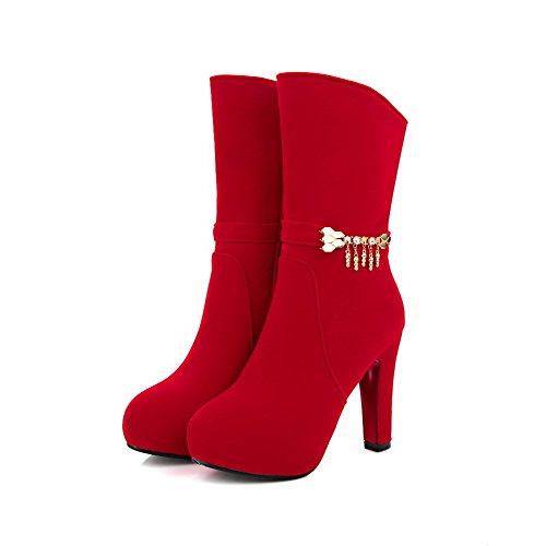 Voguezone009 Femme Zipper Round Toe Talon Haut En Plastique Hauteur Moyenne Bottes Avec Du Métal Rouge