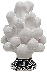 Sicilia Bedda - Pigna Siciliana con Piede Decorato - Modello Maioliche - Ceramica di Caltagirone (Altezza 9 x