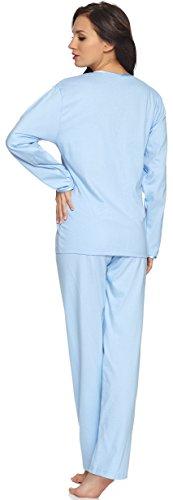 Merry Style Damen Schlafanzug 91LW1 Blau