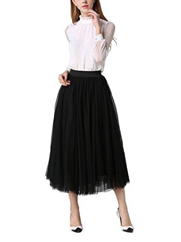 DEBAIJIA Falda Larga De Tul Plisada Tutu Malla De Noche Fiesta Moda Cintura Elástica para Mujer - Negro