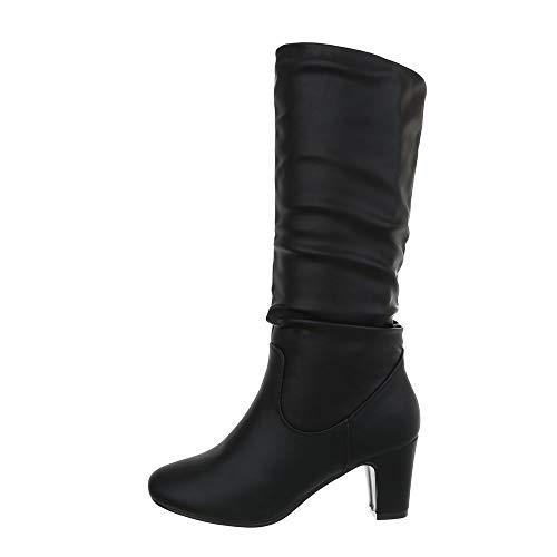 Ital-Design Damenschuhe Stiefel High Heel Stiefel Synthetik Schwarz Gr. 37