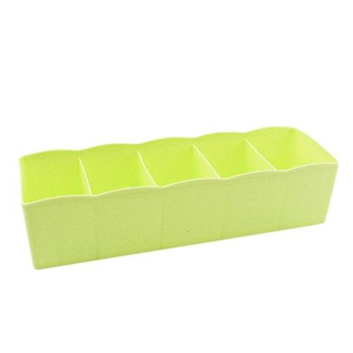 Grüner Schrank (Schubfächer Trennfächer,Setsail 5 Zellen Kunststoff Organizer Aufbewahrungsbox Krawatte Bh Socken Schublade Kosmetische Teiler Ordentlich Schrank oder Schublade (Grün))