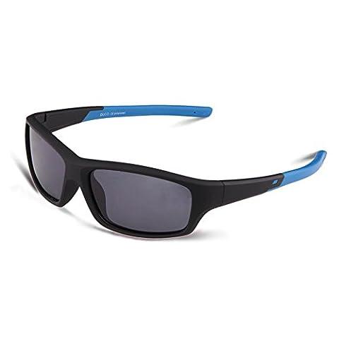 Duco Kinder Sonnenbrille Polarisierte Sportbrille für Jungen und Mädchen (Schwarz005 Für Alter 5-12)