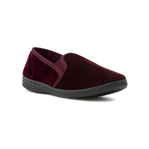the-slipper-company-mens-stripe-velour-slipper-size-11-red