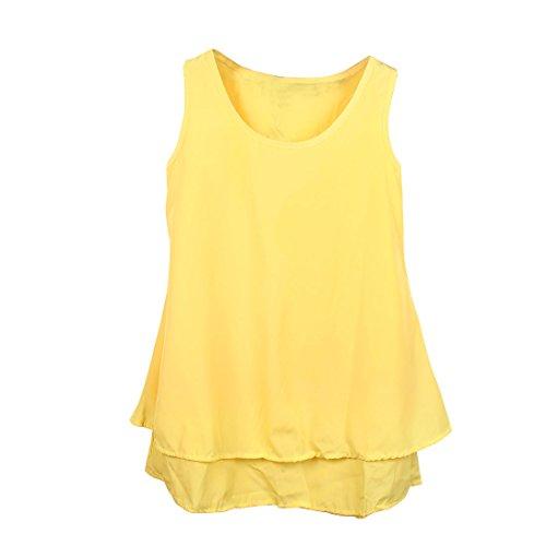 Damen-Pullover, Rundhals ohne Ärmel, einfarbig Casual Tops Gelb