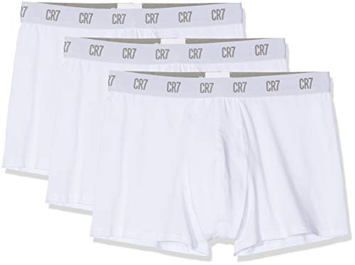 CR7 CRISTIANO RONALDO Herren Enganliegende Boxershorts Basic Trunk 3-Pack, Weiß, S, 8100 4900 100 -