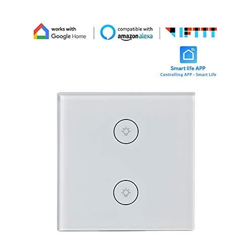 Interruptor de Luz Inteligente 10A Universal Pared Luz Interruptor Inteligente Cambiar Wifi...