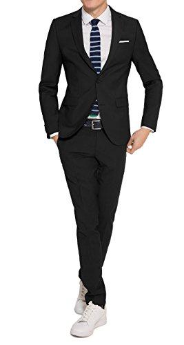 Konfirmations Anzug - Slim Fit - Herren Anzug in Schwarz oder Blau, Luigi/Elio (880 1420), Farbe:Schwarz(99), Größe:44
