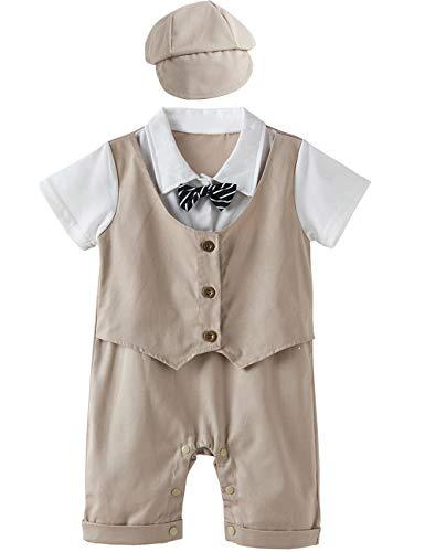 A&J Design A&J Design Baby Jungen Gentleman Strampler mit Hut (Khaki, 6-9 Monate)