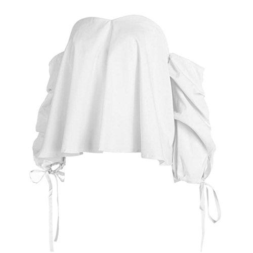 MIOIM Damen Schulterfrei Bluse Off Shoulder Oberteile Sommer Trägerlose Tops Hemd T-shirt Casual mit Krawatte Weiß