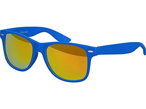 Balinco Hochwertige Nerd Sonnenbrille Rubber im Wayfarer Stil Retro Vintage Unisex Brille mit Federscharnier - 96 verschiedene Farben/Modelle wählbar (Blau - Rot/Orange verspiegelt)