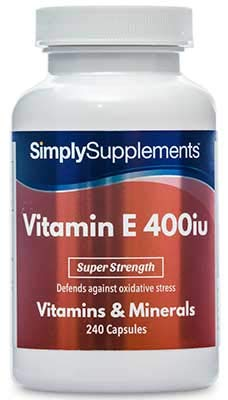 Vitamin E 400iu | 240 Capsules | Promotes Healthy Skin & Heart | 100% money back guarantee | Manufactured in the UK by Simply Supplements
