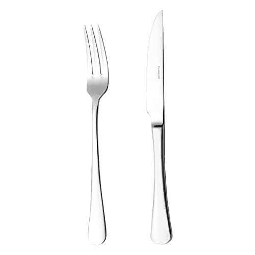 Esmeyer Steak-/PizzaBesteck-Set Sylvia 12-teilig, Edelstahl, Silber, 24.5 x 16.9 x 3.5 cm - Steaks Messer