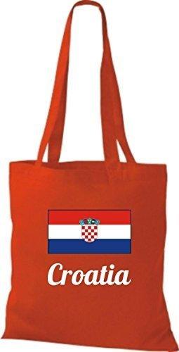 Shirtinstyle Borsa Di Stoffa Borsa Di Cotone Paese Iuta Croazia Croazia Colore Rosa Rosso