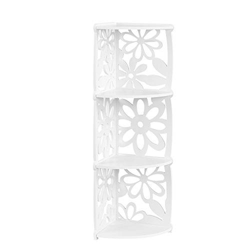Finether Regal EckregalStehregal StandregalSteckregal für Wohnzimmer Badezimmer Toilettenartikel aus WPC wasserdicht 3 Böden 22x22x82 cm schmal weiß (3 Cross Nägel)