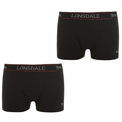 Lonsdale Herren 2 Paar Hipsters Trunk Boxer Shorts Unterhose Unterwaesche Schwarz Large
