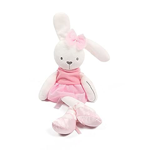 Aosbos Adorable Plush Ballerina Bunny Soft Toy Stuffed Animal Rabbit Doll Gifts for Baby Kids Pink