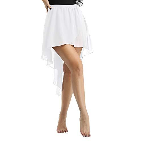 Tiaobug Damen Asymmetrischer Ballettrock Tanzrock Mini Chiffon Röckchen Yoga Gymnastik Tanz Kostüm über Ballett Trikot Anzug Weiß - Yoga Tanz Kostüm
