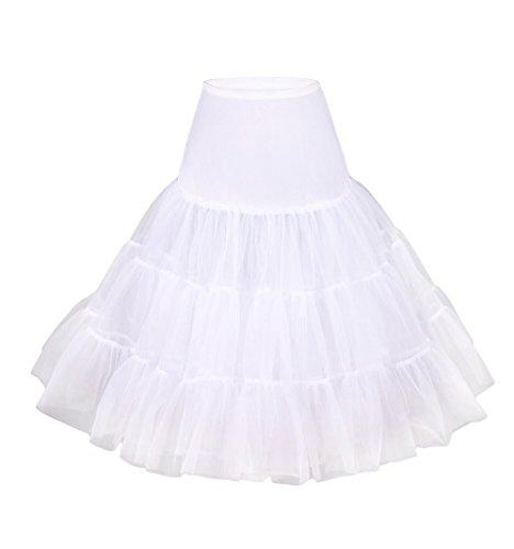 Fiona Frauen 50er Jahre Rock Kleid, 65cm Länge (L-XL, weiß) (Frauen Der 50er Jahre)