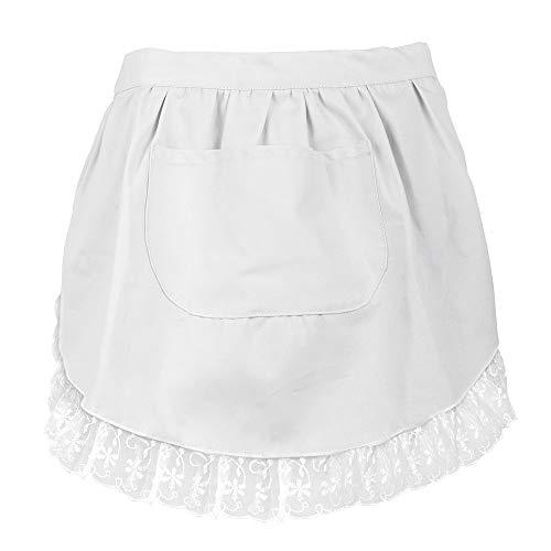 Tablier Aspire en dentelle - Pour adultes - En coton - Tablier de cuisine avec poche, parfait pour les cafés-restaurants, Coton, blanc, Taille M