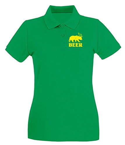 Cotton Island - Polo pour femme TIR0006 beardeerbeer vintage dark tshirt Vert