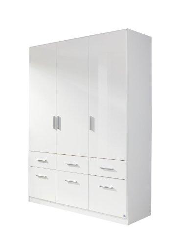 Rauch Pack's Drehtürenschrank Celle - 3-türiger Kleiderschrank mit 6 Schubladen - Front in Hochglanz Weiß und Korpus in Weiß - 136 x 197 x 54 cm