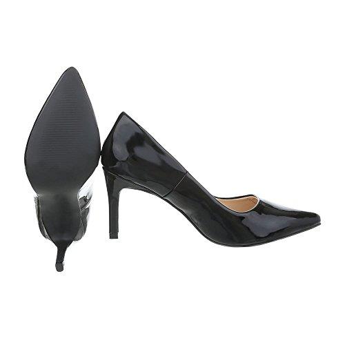 Ital-design Chaussures Pour Femmes Chaussures À Talons Chaussures À Talons Aiguilles Avec Talons Hauts Noir Ab1016