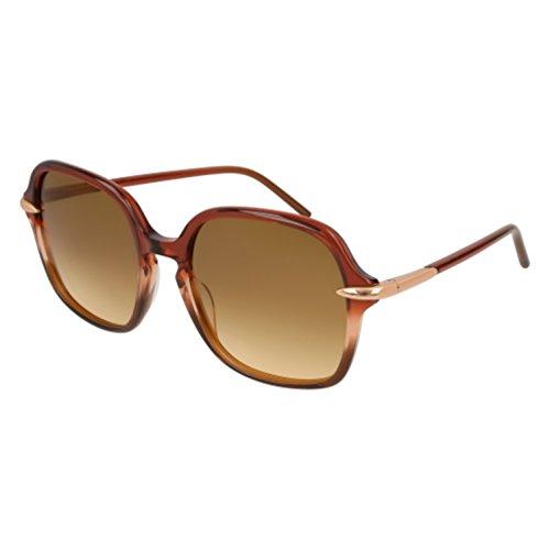 Pomellato pm0035s 002, occhiali da sole donna, marrone (002-brown/brown), 56
