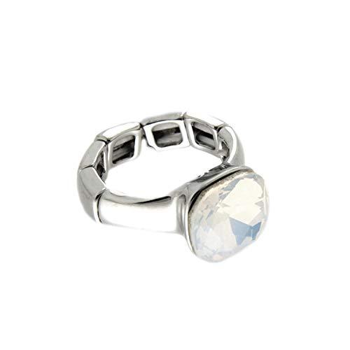 Sweet Deluxe Stretchring Diva, Silber/weiß Opal I Damen-Ring I Mode-Schmuck Ring für Frauen I Ringe Rings für Mädchen I modisches - Kostüm Schmuck Diamant Ring