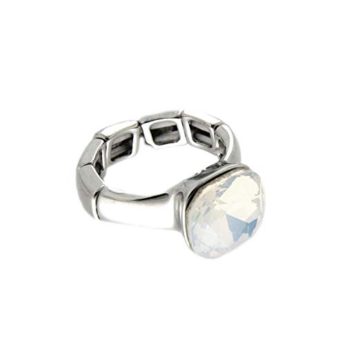 Ring Kostüm Opal - Sweet Deluxe Stretchring Diva, Silber/weiß Opal I Damen-Ring I Mode-Schmuck Ring für Frauen I Ringe Rings für Mädchen I modisches Design-Accessoires