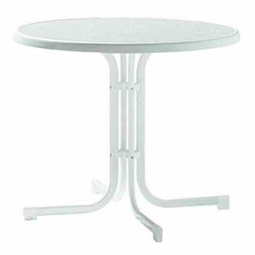 Sieger 209/W Boulevard-Klapptisch mit mecalit-Pro-Platte Ø 86 cm, Stahlrohrgestell weiß, Tischplatte Marmordekor weiß