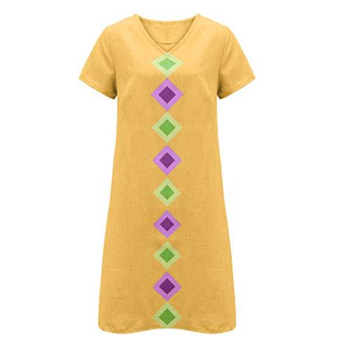 FeiBeauty Frauen Sommer Kurzarm V-Ausschnitt Geometric Print Cotton Shift Casual Dress Sommer-shift
