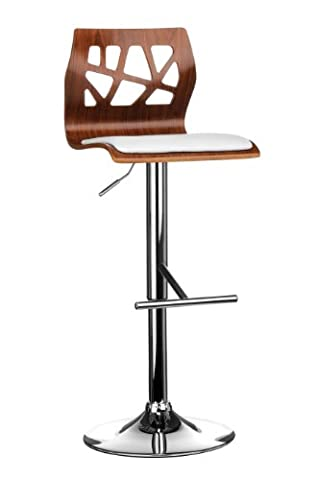Premier Housewares Walnut Wood and Leather Effect Bar Chair, 108.5
