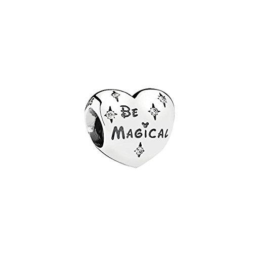 """Ciondolo per braccialetto in argento Sterling 925 massiccio, a forma di cuore, con scritta in lingua inglese """"Be Magical"""" in stile Disney"""
