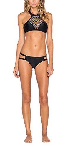 Damen Bikinis Bikini Bademode Badeanzüge Push up Sexy Trägerlos Figurformend Kleine Brüste Zum Binden Ethno Deutschland Bohemia 2 Pieces Sports 2016 (S, Schwarz#1)