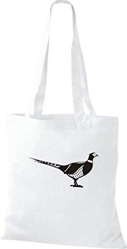 Shirtstown Stoffbeutel Tiere Fasan, Vogel Weiß