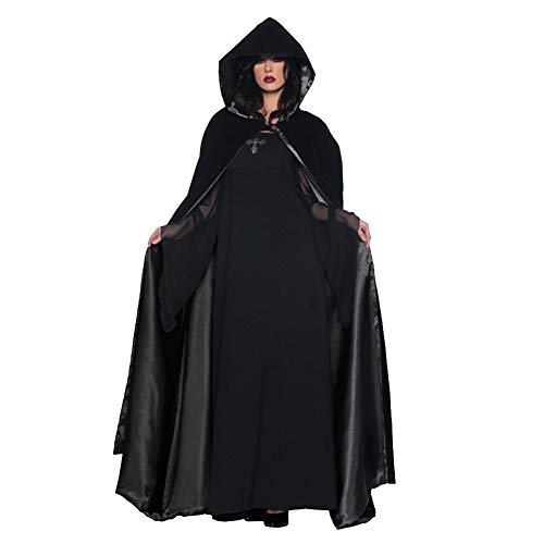 AELN - Mini Vestito per Halloween, Coppia di Vampiro, Colore: Nero, Maxi Vestito da Regina Cosplay, Costume di Halloween, Mantello + Gonna + Maniche 1 XL