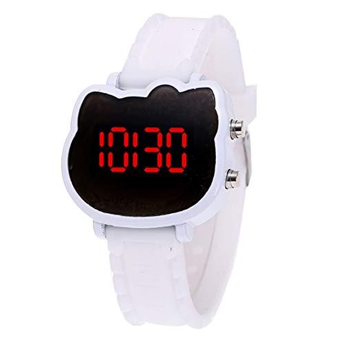 Relojes digitales relojes pidamente a LED reloj de deporte relojes exteriores de deportes para niñas niños adolescentes digital LED relojes forma gato (blanco) x 1 Características:La pulsera de silicona es suave, inocuo, ecológico y sostenible.El mo...