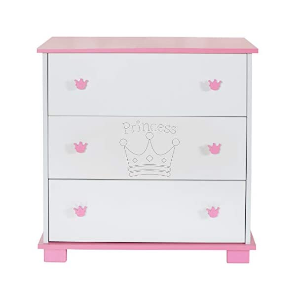 Baby Changing Chest Princess - Nursery Furniture Changer Unit With 3 Drawers - Baby Changing Table removeable LCP Kids® Princess wooden chest of drewers baby changing table Cute wood engraving of the crown application in the front of middle drawer 3 big sized drawers and a removable changing table unit and height of 95 cm 8